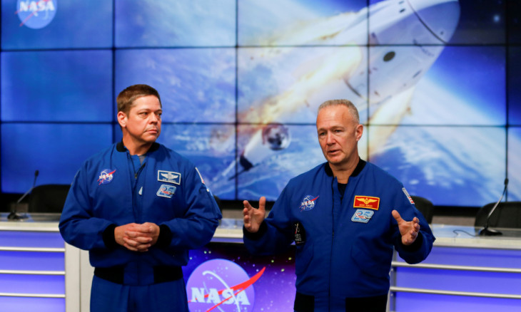 NASA astronauts Doug Hurley and Bob Behnken speak at a news conference