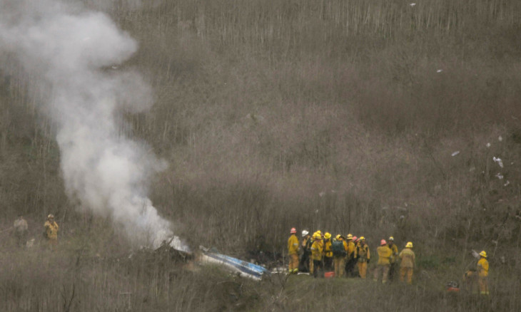 LA county firefighters on the scene of a helicopter crash that reportedly killed Kobe Bryant in Calabasas