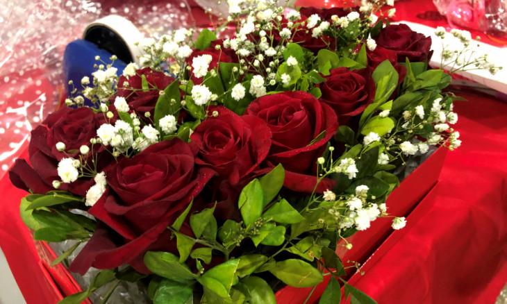 A flower bouquet is seen packed at the Petals And More store in Abuja
