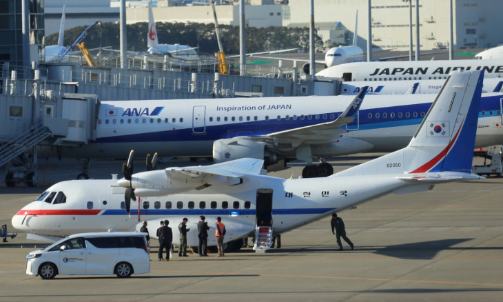 South Korea's presidential jet to evacuate its nationals who had been stuck on the cruise ship Diamond Princess, is seen at Haneda airport in Tokyo