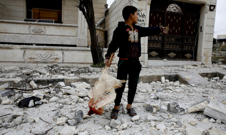 A Syrian boy removes a dead chicken from the debris of a building hit by an air strike in Idlib