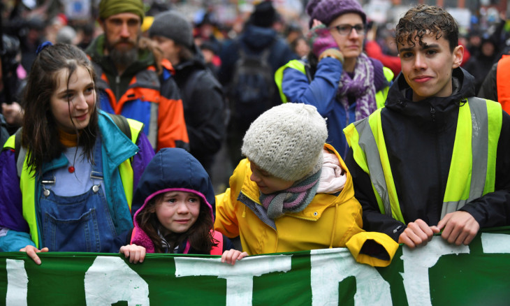 Swedish environmental activist Greta Thunberg attends a youth climate protest in Bristol