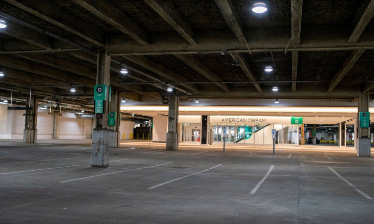 Parking lot of American Dream is seen empty after closing doors due the outbreak of coronavirus disease (COVID-19), in Meadowlands, East Rutherford, New Jersey