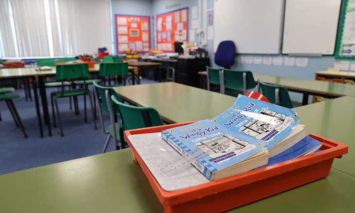 General view of an empty classroom in Staffordshire