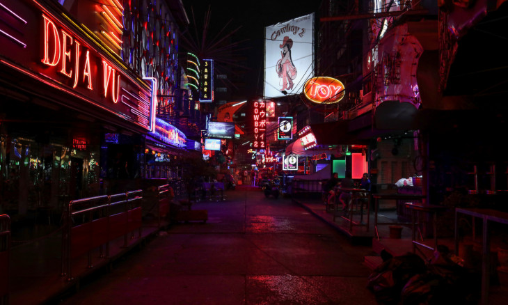 NIght clubs and go-go bars street Soi Cowboy is seen empty after Thai government ordered the closure of cinemas, bars and other entertainment facilities as part of a raft of measures intended to control the spread of the coronavirus outbreak in Bangkok