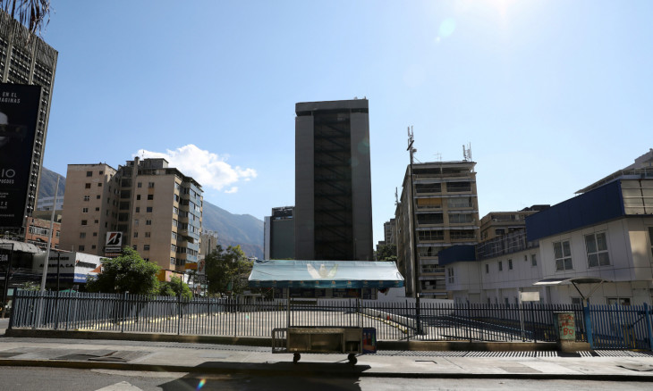An empty hot dog street cart is seen during the national quarantine in response to the spread of coronavirus disease (COVID-19) in Caracas