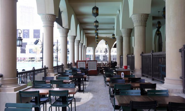 Restaurant patio sits empty outside Dubai Mall