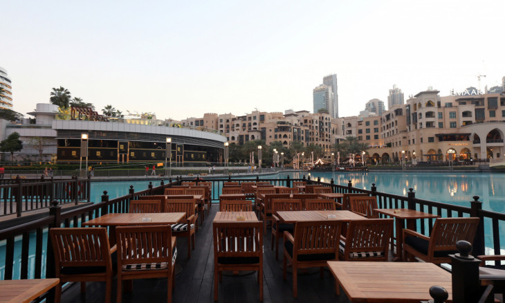 Empty restaurant is pictured outside Dubai Mall