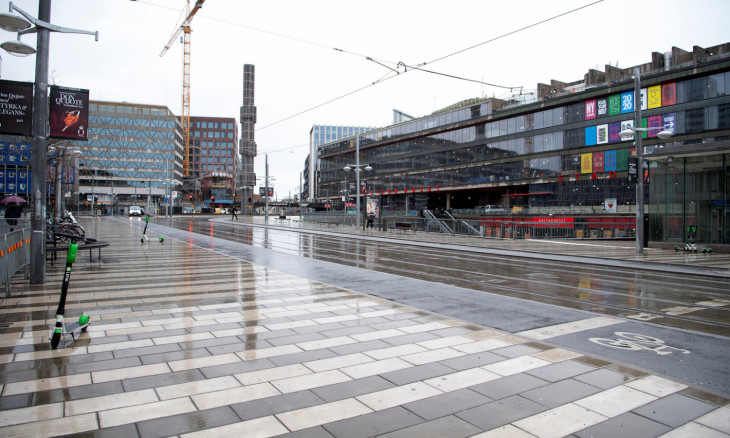 View of near-empty streets in central Stockholm
