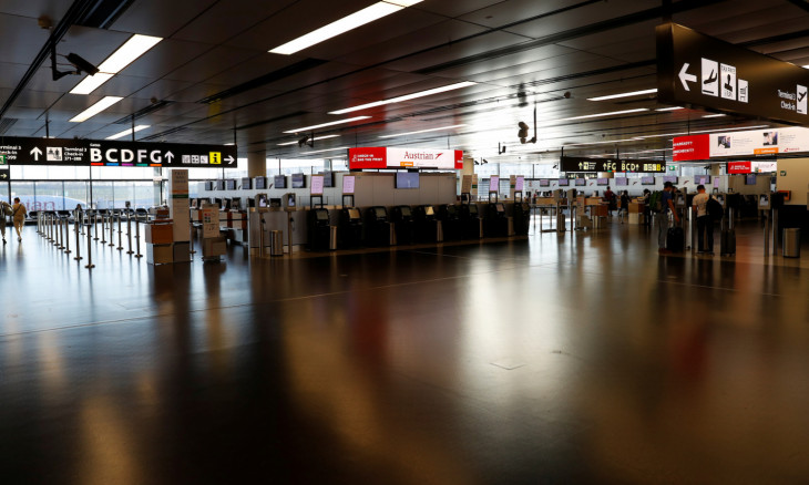 Empty check-in counters are seen at Vienna's airport in Schwechat