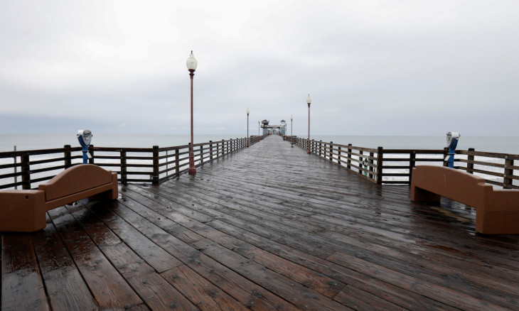 An empty pedestrian pier is shown during the global outbreak of the coronavirus disease (COVID-19) in Oceanside, California