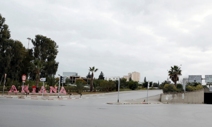 General view shows empty streets at entrance of Ariana city