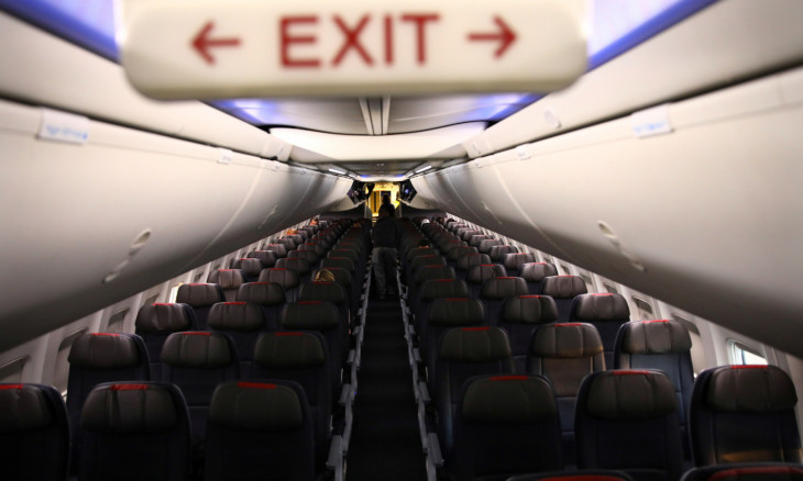 Rows of empty seats of an American Airline flight are seen, as coronavirus disease (COVID-19) disruption continues across the global industry, during a flight between Washington D.C. and Miami, in Washington, U.S.