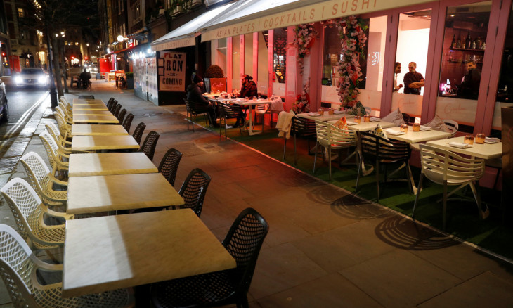 Empty restaurant tables are seen as the spread of the coronavirus disease (COVID-19) continues, in London