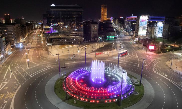 Empty Slavija square is pictured during a curfew imposed to prevent the spread of coronavirus disease (COVID-19) in Belgrade