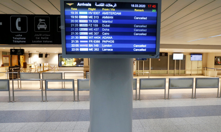 Lebanon temporarily shuts down Beirut's international airport as part of the preventive measures against the spread of coronavirus disease (COVID-19) in Beirut