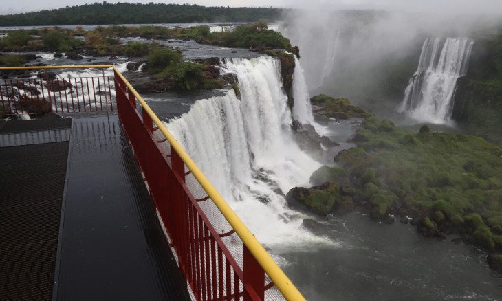 An empty observation platform at the Iguacu National Park is pictured after the its closure due to the coronavirus disease (COVID-19) outbreak in Foz do Iguacu