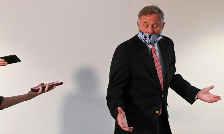 Sen. Burr walks to a republican luncheon on Capitol Hill in Washington