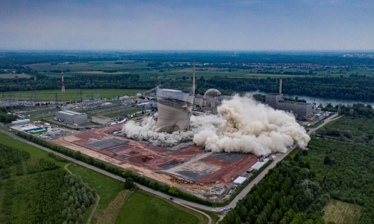 Aerial photo made available by Energie Baden-Wurttemberg (EnBW) shows demolition of cooling tower at decommissioned nuclear power plant in Philippsburg