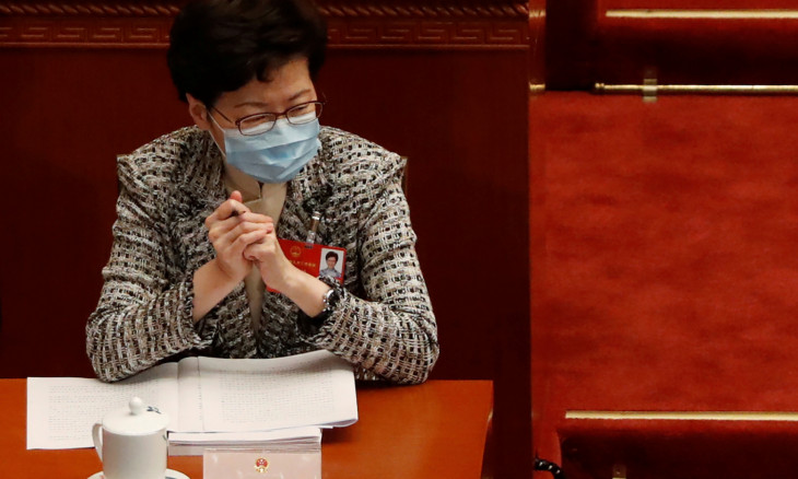 Hong Kong Chief Executive Carrie Lam attends the opening session of NPC in Beijing