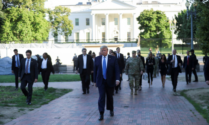 U.S. President Trump walks out of the White House to visit St John's Church in Washington