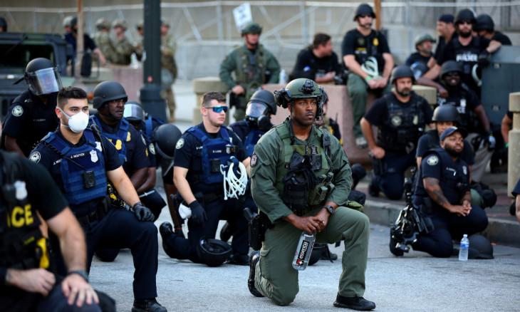 Protest against the death in Minneapolis in police custody of African-American man George Floyd, in Atlanta