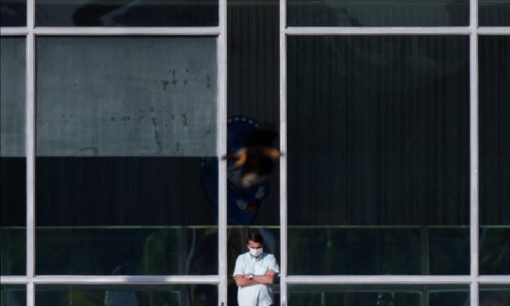 Brazil's President Jair Bolsonaro is seen at the Alvorada Palace