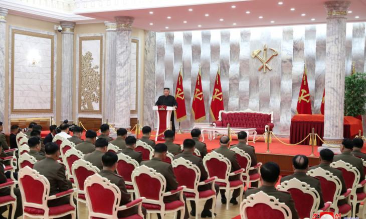 "North Korean leader Kim Jong Un speaks at an event to confer ""Paektusan"""