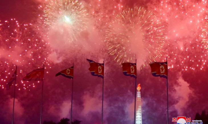 Fireworks illuminate the sky to mark the 67th anniversary of the Korean War armistice in Pyongyang,