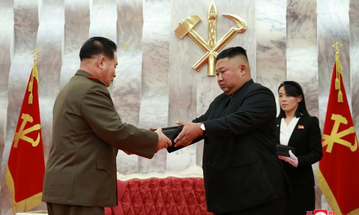 "North Korean leader Kim Jong Un and his sister Kim Yo Jong participate in an event to confer ""Paektusan"""