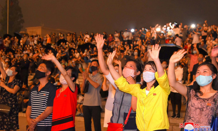 People watch a fireworks display to mark the 67th anniversary of the Korean War armistice