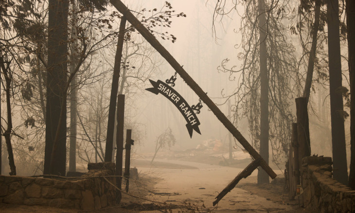 An entrance to Shaver Ranch damaged by the Creek Fire