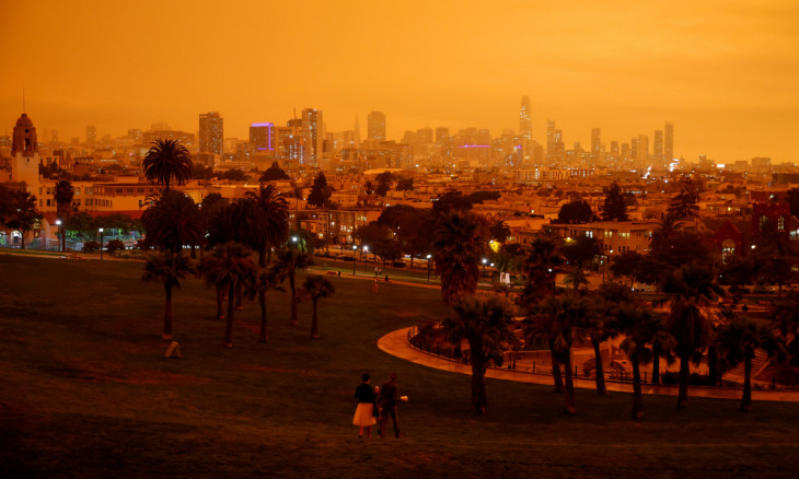 Downtown San Francisco is seen from Dolores Park