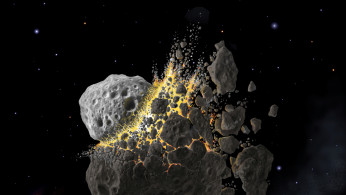 This illustration shows a giant asteroid collision between Mars and Jupiter that occurred 466 million years ago and produced the dust that led to an ice age on Earth