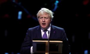 Prime Minister Boris Johnson speaks at the UK Holocaust Memorial Day Commemorative Ceremony in Westminster in London