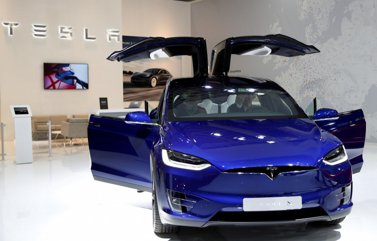 A Tesla Model X electric car is seen at Brussels Motor Show, Belgium, January 9, 2020.