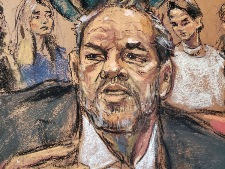 Harvey Weinstein speaks as witnesses watch during the sentencing following his conviction on sexual assault and rape charges in the Manhattan borough