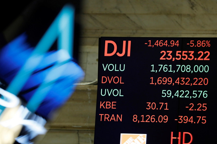 The Dow Jones Industrial Average is displayed after the closing bell on the floor of the New York Stock Exchange (NYSE) in New York City