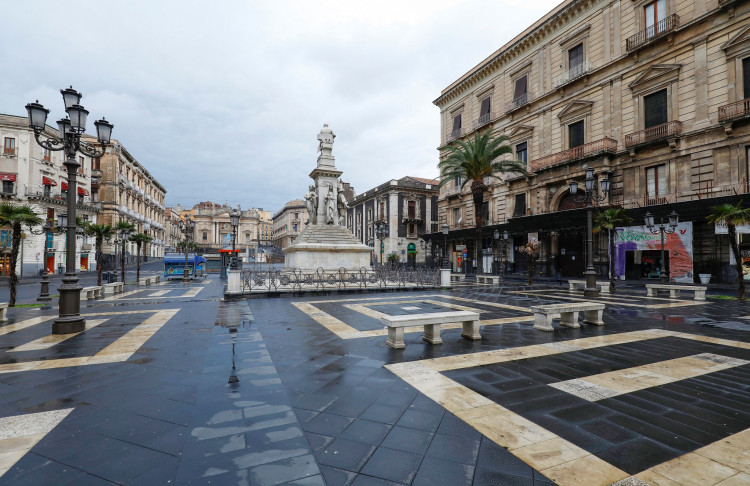 A deserted square is pictured, after Italy reinforced the lockdown measures to combat the coronavirus disease (COVID-19)