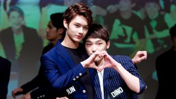 Jun and Dino during a SEVENTEEN fansign in Yongsan-gu on October 18, 2015