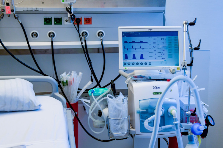 A respirator system is pictured at the intensive care unit of the University Medical Center Hamburg-Eppendorf in Hamburg, Germany