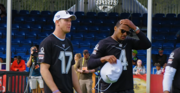Ryan Tannehill and Deshaun Watson during Thursday's Pro Bowl practice in Orlando.