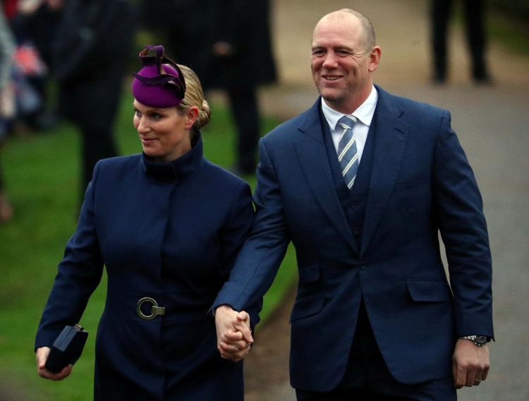 Zara Phillips and Mike Tindall arrive at St Mary Magdalene's church for the Royal Family's Christmas Day service.