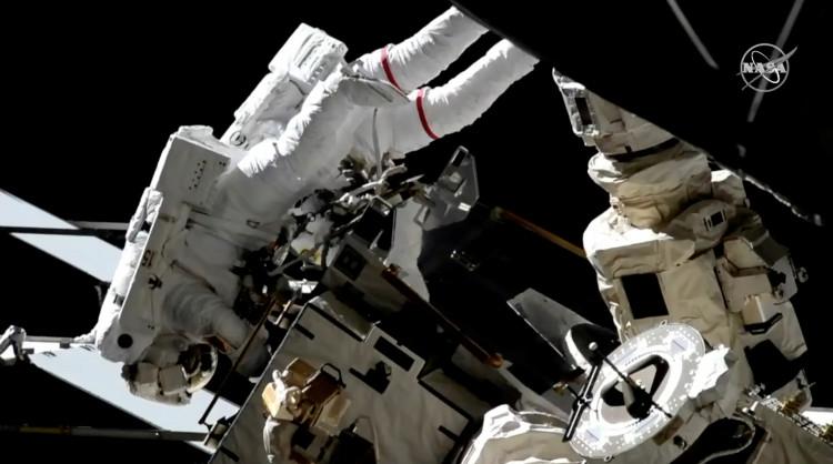 Flight Engineers Nick Hague and Christina Koch of NASA go on a spacewalk