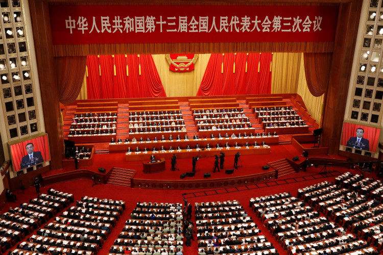 Chinese Premier Li Keqiang delivers a speech at the opening session of the National People's Congress (NPC) at the Great Hall of the People in Beijing, China May 22, 2020.