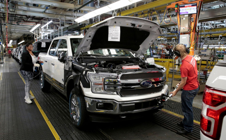 FILE PHOTO: A 2018 F150 pick-up truck moves down the assembly line at Ford's Dearborn Truck Plant during the 100-year celebration of the Ford River Rouge Complex in Dearborn