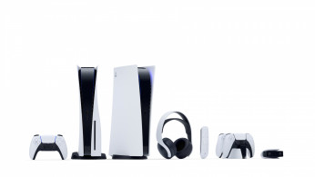Undated handout image of the Sony PlayStation 5 standard and Digital Edition consoles, DualSense controllers, media remote, Pulse 3D wireless headset, DualSense Charging Station and HD camera