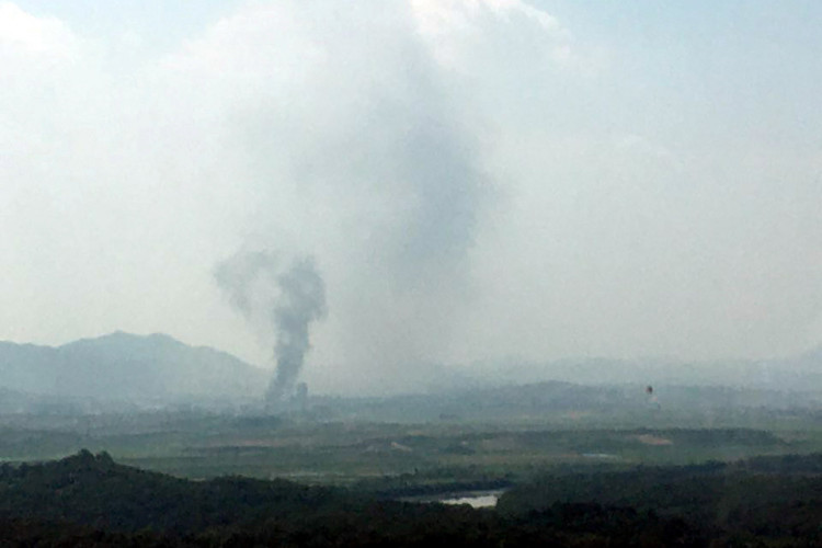 A smoke rises from Kaesong Industrial Complex in this picture taken from the south side in Paju, South Korea, June 16, 2020.