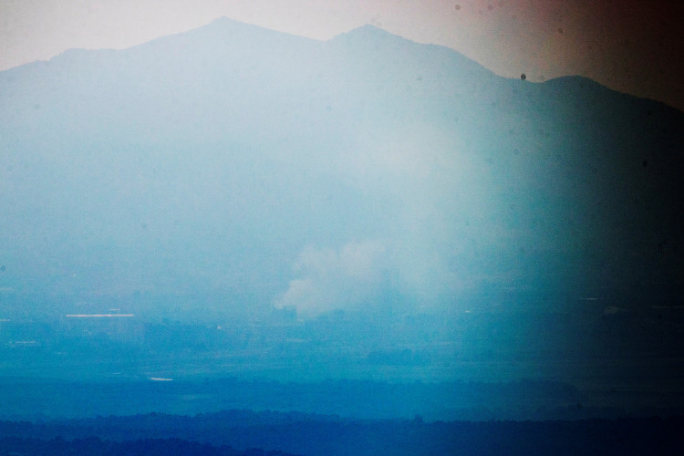 Kaesong Industrial Complex is shrouded by smoke in this picture taken from the south side in Paju, South Korea