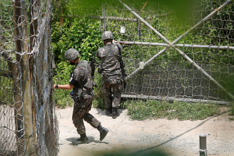 South Korean soldiers close an entrance of their guard post near the demilitarized zone separating the two Koreas in Paju, South Korea, June 16, 2020.